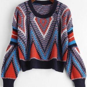 Zaful Geometric Crop Sweater